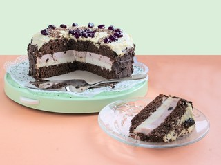 tasty chocolate cake with chocolated icing