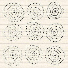 Circle pattern on a sheet of lined paper