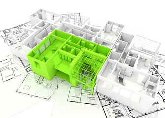 3d plan on architectural drawing