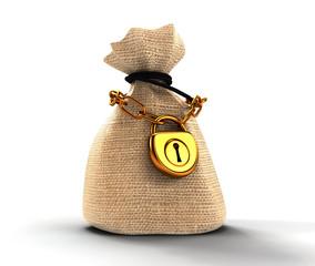 locked  money bag