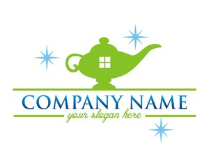 magic lamp house logo image vector