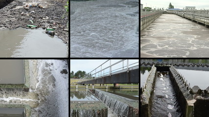 Dirty sewage water. Bubbling scum. Waterworks. Clips collage.