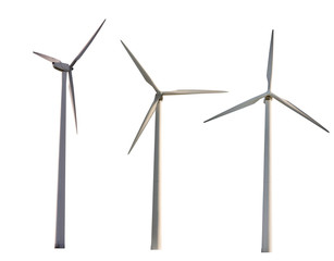 set of three wind power generators isolated on white