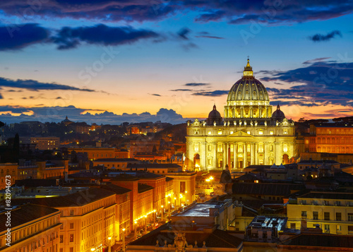 Staande foto Rome Rome, Italy. St. Peter's cathedral in sunset lights