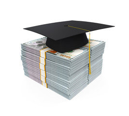 Graduation Cap on Stack of Dollar Bills