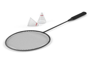 Badminton racket and shuttlecock isolated