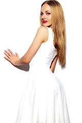 sexy stylish blond woman model in white dress
