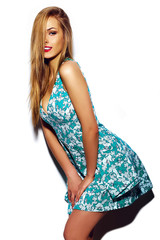 funny stylish hipster girl model in casual summer cloth
