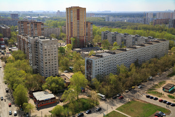 Top view of the city Balashikha in Moscow region