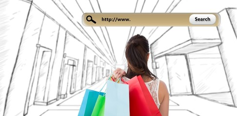 Composite image of rear view of brunette holding shopping bags