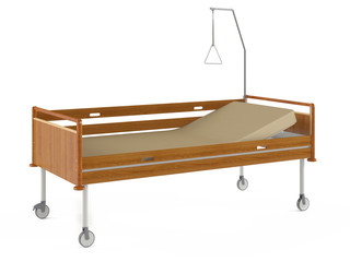 Medical wooden bed isolated