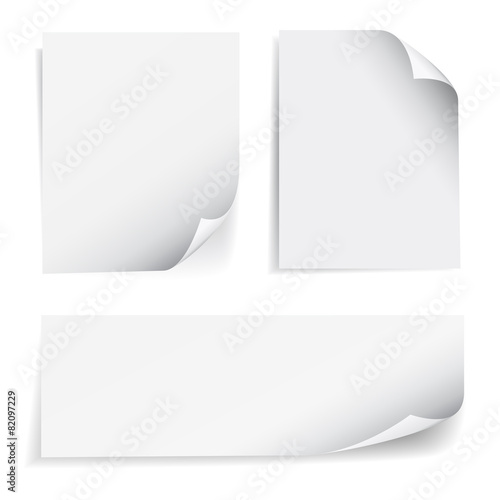 Blank Sheet Paper Page Curl Set - 82097229