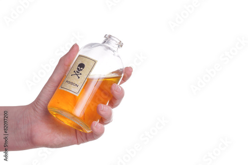 Poster Hands holding a Bottle of poison.