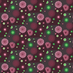 Vector seamless pattern with abstract flowers.