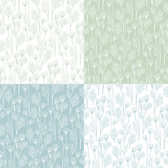 Set of seamless patterns with dill