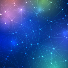 Abstract triangle grid on science background