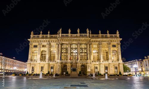 Leinwandbild Motiv Palazzo Madama in Turin at night - Italy