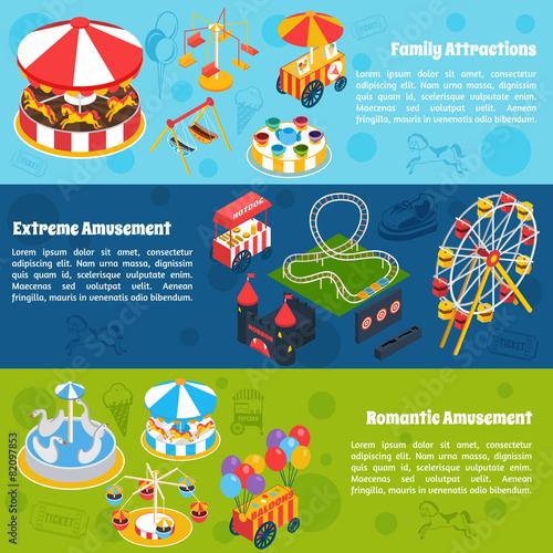 Amusement Isometric Banners - 82097853
