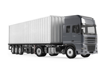 Cargo delivery vehicle truck with aluminum trailer