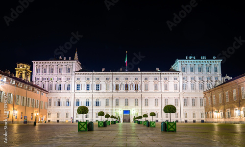 Leinwandbild Motiv Royal Palace of Turin at night - Italy