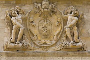 Sculpture of the Palais des Papes in Avignon, Provence, France