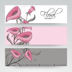 Floral website header or banner design.