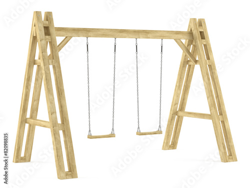 Wooden swing isolated - 82098835