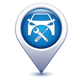 entretien voiture sur marqueur géolocalisation bleu