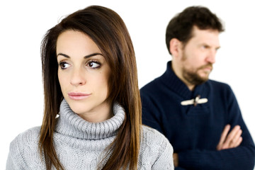 Woman angry with boyfriend not talking