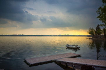 Moody clouds over the lake