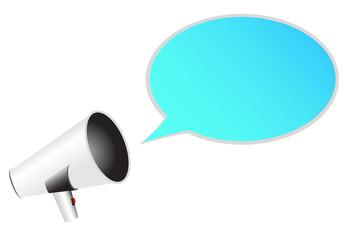 white megaphone with bubble talk
