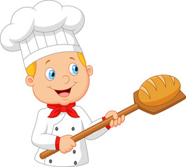 Cartoon baker holding bakery peel tool with bread