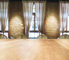 Table top with Blurred dining room Interior background
