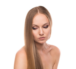 Young woman with beautiful long hair.