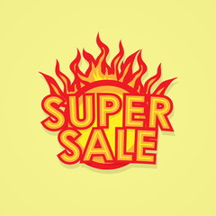 Sign sale offer with fire.