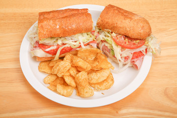 Italian Sub Sandwich with Potato Chips