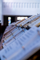 Rows of Hymnals