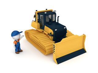 Yellow bulldozer.