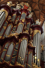 Pipe organ in the Grote Kerk in Haarlem, Netherlands.