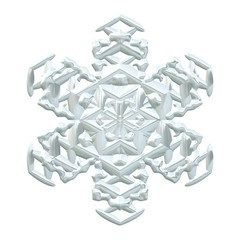 Single snowflake, crystal water, isolated on a white background