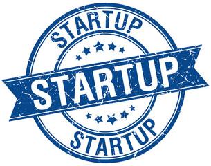 startup grunge retro blue isolated ribbon stamp