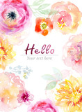 Fototapety Watercolor flowers background