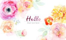 "Постер, картина, фотообои ""Watercolor flowers background"""