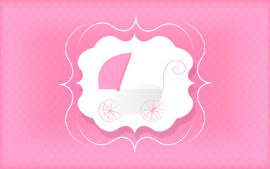 Baby girl greeting card. Pink stroller for newborn.