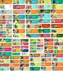Mega set of universal web option infographic banners
