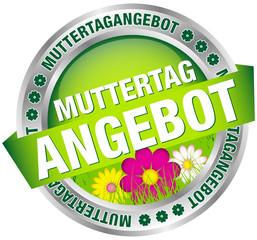 "Button Banner ""Muttertagangebot"" Blumen grün/silber"