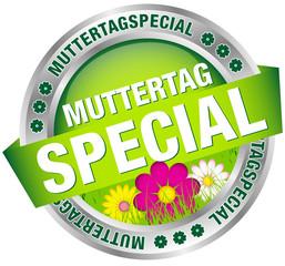 "Button Banner ""Muttertagspecial"" Blumen grün/silber"
