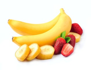 Juicy strawberry with bananas