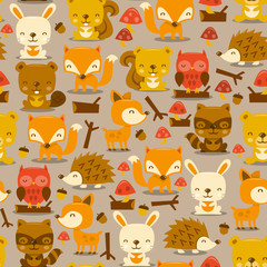 Super Cute Woodland Creatures Seamless Pattern Background