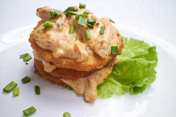 potato pancakes with sauce